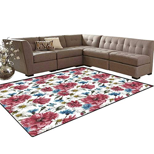 Watercolor Door Mats Area Rug Bridal Inspired Wildflower Bouquet with Poppies Daisies Cornflowers Anti-Skid Area Rugs 6'x9' Dried Rose Blue Green