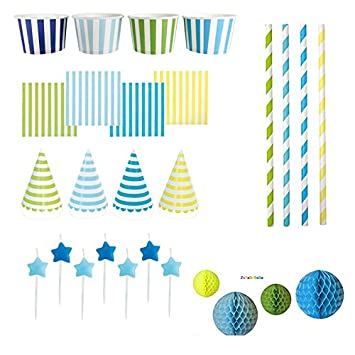 Jabadabado Partypaket Streifen Blau Oder Pink Bunt Partyset