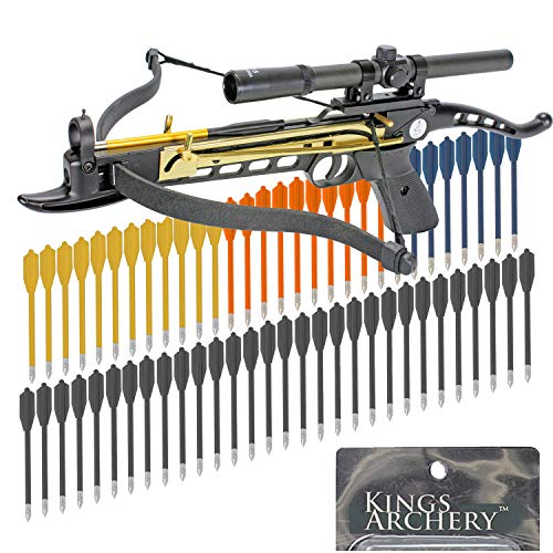 KingsArchery Crossbow Self-Cocking 80 LBS with Hunting Scope, 3 Aluminium Arrow Bolts, and Bonus 60-Pack of Colored PVC Arrow Bolts Warranty
