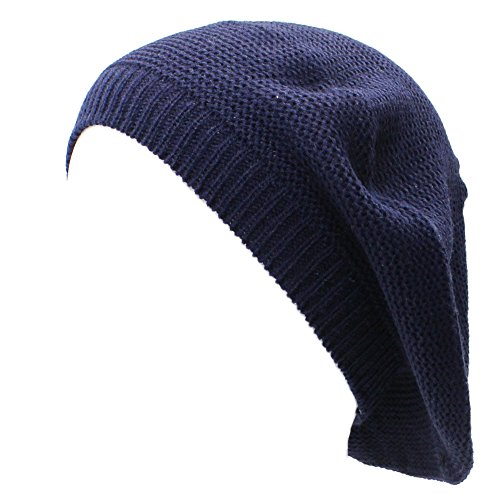 AN Navy Blue Beanie Hat Beret for Women Fashion Lightweight Knit Solid Color