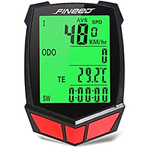 Wireless Bicycle Computer Waterproof Bike Speedometer Cycling Odometer Fineed LCD Backlight Multi Functions