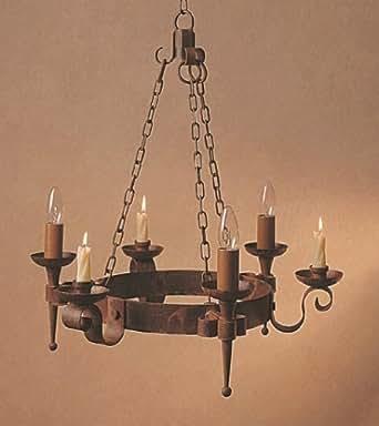Refectorio 3/3 vela luz hierro envejecido diseño de lámpara de araña