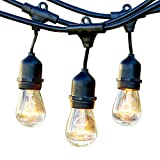 Brightech – Ambience Pro – Outdoor Weatherproof Commercial Grade Lights with Hanging Sockets – WeatherTite Technology – 11S14 Incandescent Bulbs – Heavy Duty - 48-Foot – Black