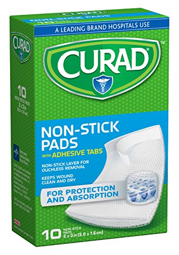 Curad Non-Stick Pads, 2 Inches X 3 Inches with Adhesive Tabs, 10 Count