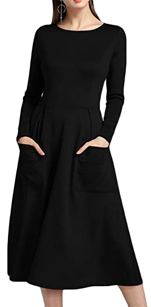 6b37f1c8ed Wofupowga Women s Pleated Long Sleeve Pocket Loose Swing A Line Midi Dress  Black XS
