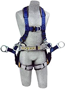 3M DBI-SALA ExoFit 1108652 Tower Climbing Harness, Front/Back/Side D-Rings, Belt/Back Pad, Seat Sling w/Position D-Rings, QC Buckles, Large, Blue/Gray