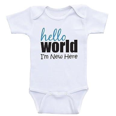 8cecea055654e Amazon.com: Newborn Baby Shirts Hello World I'm New Here Baby ...