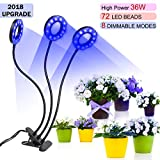 36W Timer Grow Lights for Indoor Plants/Grow Lamps for Seedlings,Triple Head 72 LED Chips with Red/Blue Spectrum,3/9/12H Timer,Growing Light Bulbs for Green Trees,Flowers,Hydroponics/Greenhouse/Garden
