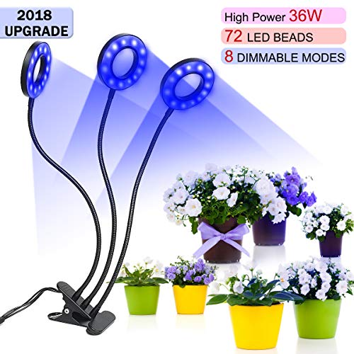 36W Timer Grow Lights for Indoor Plants/Grow Lamps for Seedlings,Triple Head 72 LED Chips with Red/Blue Spectrum,3/9/12H Timer,Growing Light Bulbs for Green Trees,Flowers,Hydroponics/Greenhouse/Garden by Ustyle