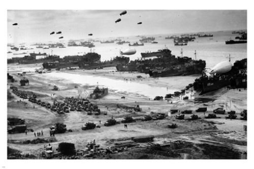 battleground NORMANDY June 6 1945 poster 24X36 tanks ships b