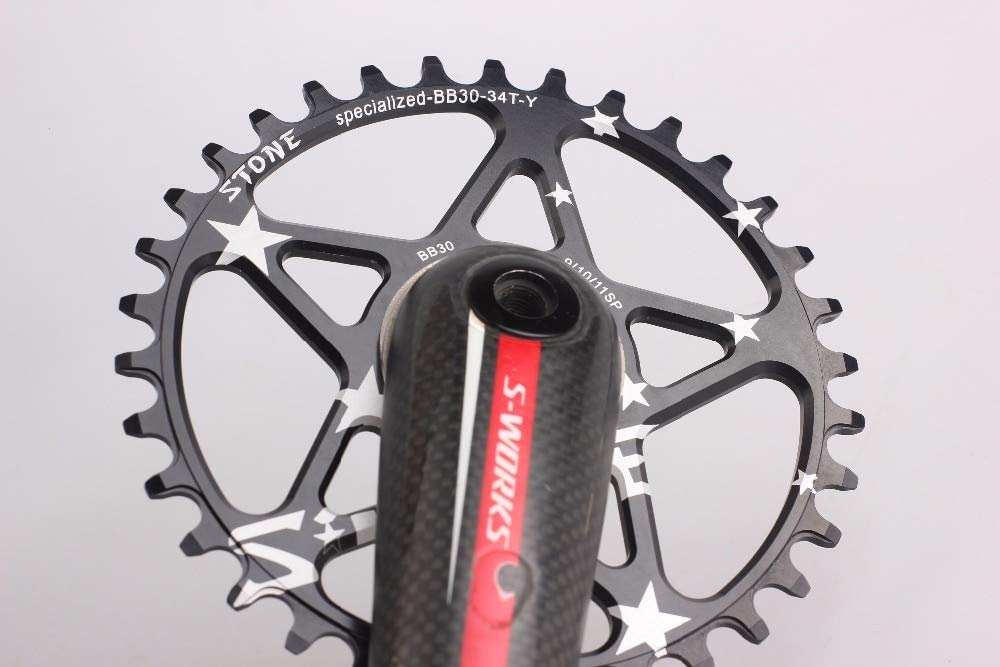 dd0aad7d952 Amazon.com : Xennos Chainring for Specialized S-Works Direct Mount BB30  Single Speed Narrow Wide Circle 34T 36T 38T - (Color: Circle 34T Black) :  Sports & ...