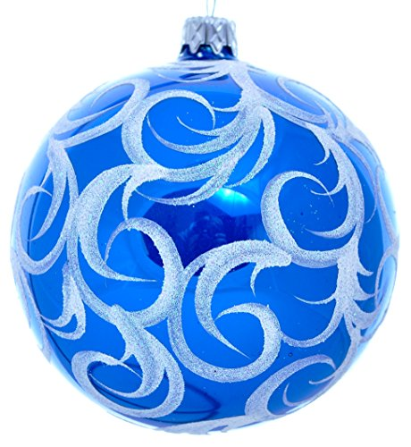 Wise Elk Christmas Ornament Glass Ball Hand Blown Hand Painted Blue Frost, Blue 4