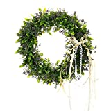 Adeeing 15 Inches Artificial Green Leaf Wreath with Bow Door Hanging Wall Window Decoration Holiday Festival Wedding Decor, Style B