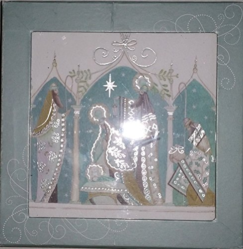 DELUXE SET OF 12 RELIGIOUS CHRISTMAS CARDS EMBOSSED GOLD GILDED SILVER WISE MEN - ENVELOPES INCLUDED {jg} Great for mom, dad, sister, brother, grandparents, aunt, uncle, cousin, grandchildren, grandma, grandpa, wife, husband, relatives and friend.