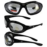 Birdz Eyewear Thrasher Padded Motorcycle Glasses-Convert-to-Goggles (Black Frame/Clear Lens)