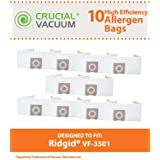 10 Allergen Vacuum Bags for Ridgid 3 to 4.5 Gallon Wet/Dry Vacuums; Compare to Ridgid Part Nos. VF3501, 23738; Designed & Engineered by Think Crucial