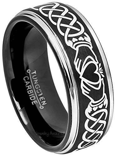 Jewelry Avalanche Mens Celtic Claddagh Tungsten Ring -8mm Brushed Finish Black IP & Gunmetal Stepped Edge Comfort Fit Tungsten Carbide Wedding Band ()