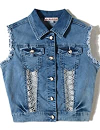 just quella Girls Vest Sleeveless Jean Jacket Patchwork Lace Denim Vest Waistcoat