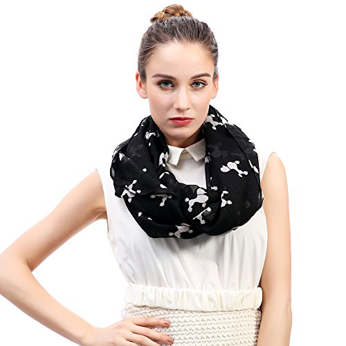 Lina & Lily Poodle Dog Print Women's Infinity Scarf Lightweight (Black&White-L)