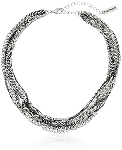 "Steve Madden 2 Tone Multi Row Knotted Silver Necklace, 16"" + 3"" Extender"