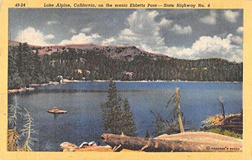 Lake Alpine California scenic view Ebbetts Pass linen antique pc Z39973