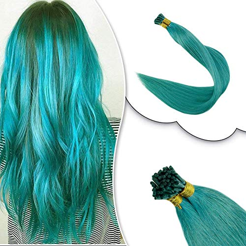 RUNATURE I Tips Hair Extensions Remy Hair Teal Color 14 Inches 0.8g Per Strand 20g Highlights Color Keratin Tip Extensions Pre Bonded Human Hair Extensions Brazilian Remy Hair (Turquoise Extensions Human Hair)