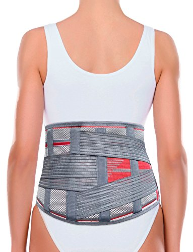 Lumbosacral Brace - ORTONYX Lumbar Support Belt Lumbosacral Back Brace – Ergonomic Design and Breathable Material - XL-XXL Gray/Red