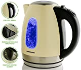 Ovente KS96BG 1.7 Liter BPA-Free Stainless Steel Cordless Electric Kettle, 1100-Watts, Auto Shut-Off and Boil-Dry Protection, Matte Black Cool-Touch Handle, 1.7L, Beige