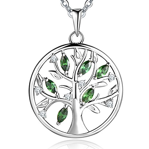 JO WISDOM 925 Sterling Silver Cubic Zirconia Created Emerald Tree of Life Pendant Necklace,18-20