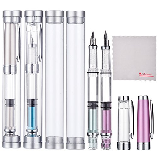 Wing Sung 3008 Silver EF 0.35mm Thin Piston Fountain Pen Set of 4 Pieces, 4 Colors (Piston Body)