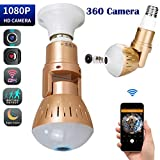 Bulb Hidden Camera 360 Degree Light WiFi 1080P Panoramic Fish Eye LED Stretch and Twist Lens Spy Cameras Lights Night Vision Surveillance with Remote View Motion Detection for Android iOS For Sale