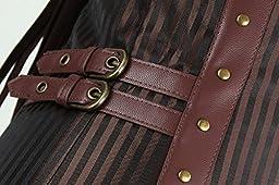Charmian Men\'s Spiral Steel Boned Victorian Steampunk Gothic Retro Stripe Waistcoat Vest with Chain Plus Size Brown XXXXXX-Large