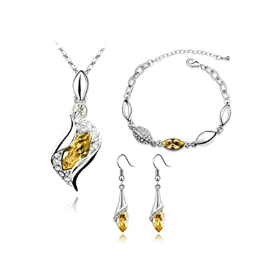 37ad835b Leisial Juego de Joyas Cristal - Collar Colgante + Pendientes + Pulsera  para Novia Mujer Niña Accesorio Joyería Regalo Fiestas de Boda Cumpleaños
