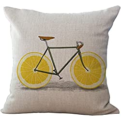 "Miracle Dec Lemon Bicycle Pattern Linen Polyester Square Sofa Throw Pillow Covers Cushion Cases (17""x17"", Lemon&Linen)"