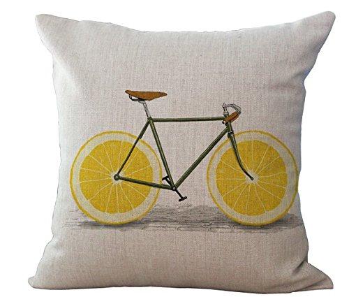 Miracle Dec Lemon Bicycle Pattern Linen Polyeser Square Sofa