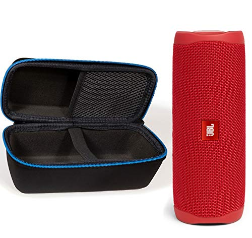JBL Flip 5 Waterproof Portable Wireless Bluetooth Speaker Bundle with divvi! Protective Hardshell Case – Red