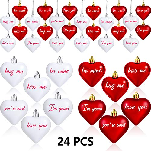 24 Pieces Valentines Day Heart Ornaments Heart Shaped Baubles Heart Ornaments with Letters for Valentine Party…