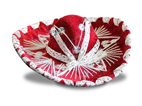 Del Mex SET OF THREE (3) Mexican Charro MINI Sombrero Mariachi Felt Costume Decor (RED) (Felt Sombrero)