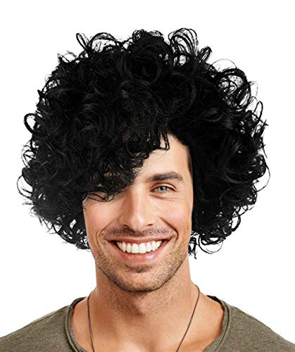 Halloween Party Online 80's Pop Star Prince Wig, Black Adult HM-082A