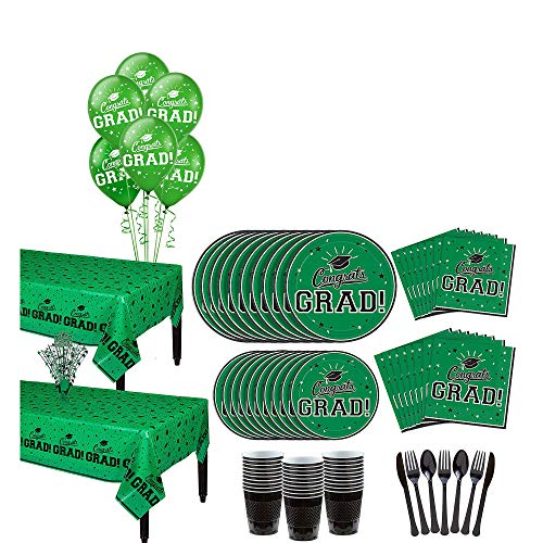 Party City Green Congrats Grad 2019 Graduation Party Supplies for 36 Guests with Banner, Tableware and Balloons -