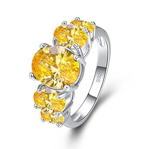 Psiroy 925 Sterling Silver Created Citrine Filled 5 Stone Engagement Ring Band Size 6