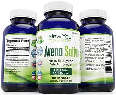 Avena Sativa Youthful Energy, Vigor And Stamina Support New You Bulk Vitamins 10:1 Avena Sativa Extract 900mg 180 Capsules 1 Bottle