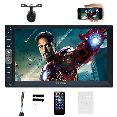 7 Inch Autoradio Double 2 Din Mirror Link for Android GPS Navigation in Dash Car Stereo Radio HD 1024600 Capacitive Muti-Touch Screen MP5 Player Without DVD Player Bluetooth with Backup Camera