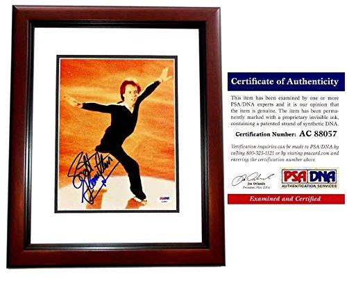 (Scott Hamilton Signed - Autographed Figure Skating 8x10 Photo MAHOGANY CUSTOM FRAME - PSA/DNA Certificate of Authenticity (COA) )