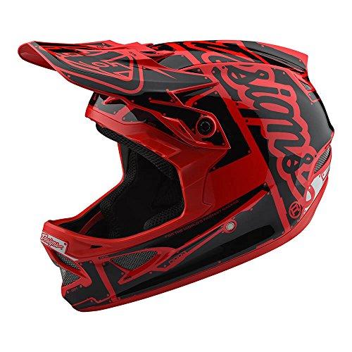 Troy Lee Designs D3 Fiberlite Factory Mountain Downhill BMX Bike Full Face Helmet 2018 (Large, Red/Black)