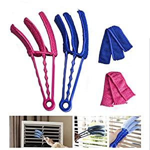 Window Blind Brush Dust Cleaner Hanzeek Blind Duster Shutters Cleaner With Two Removable Sleeves For Air Conditioner Window Shades Blinds Vertical Blinds