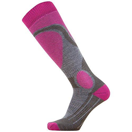 Elite Ski Socks – Lightweight Merino Wool Warm Skiing Sock for Men and Women (M, Neon Pink)
