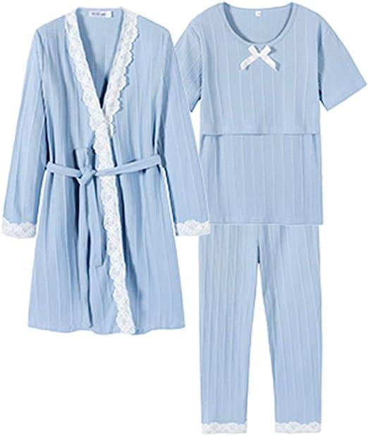 Pijamas Albornoces Batas y Kimonos Maternidad Algodón de Manga Larga Camisón Embarazo Homedressing Conjunto de 3 Piezas Ropa para amamantar Regalo Maravilloso para Mujer Embarazada Ropa de Dormir C: Amazon.es: Hogar