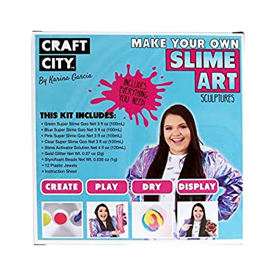 Craft City Karina Garcia Make Your Own Slime Art Sculptures Kit with Add-ins | 4 Colors: Toys & Games