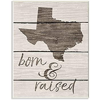 The Stupell Home Décor Collection Born and Raised Texas Wall Plaque Art, 10 x 15